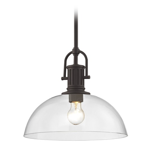 Design Classics Lighting Industrial Bronze Pendant Light with Clear Glass 13-Inch Wide 1764-220 G1785-CL