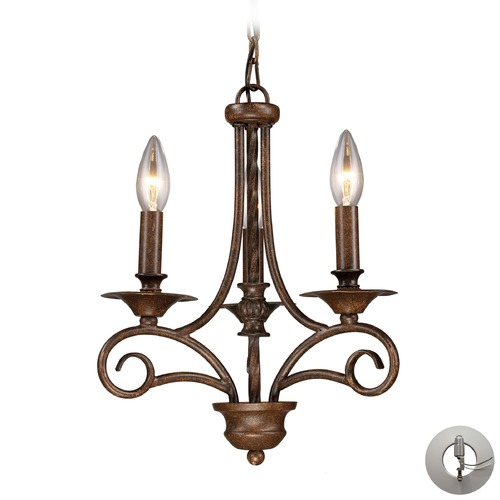 Elk Lighting Gloucester Antique Bronze Mini-Chandelier - Includes Recessed Adapter Kit 15041/3-LA