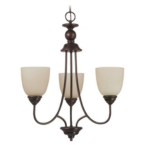 Sea Gull Lighting Mini-Chandelier with Beige / Cream Glass in Burnt Sienna Finish 31316-710