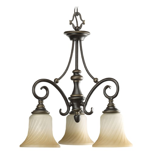 Progress Lighting Progress Chandelier with Beige / Cream Glass in Forged Bronze Finish P4158-77