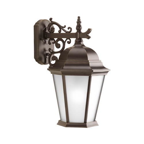 Progress Lighting Outdoor Wall Light with White Glass in Antique Bronze Finish P5683-20EB