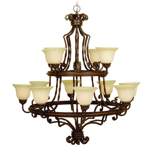 Jeremiah Lighting Jeremiah Riata Aged Bronze Textured Chandelier 8144AG12