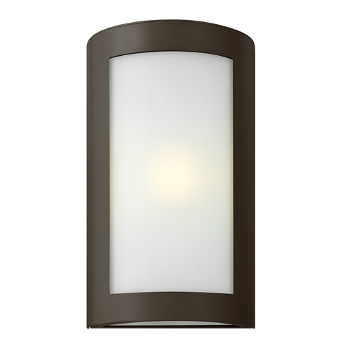 Hinkley Lighting Modern Outdoor Wall Light with White Glass in Bronze Finish 2024BZ-GU24