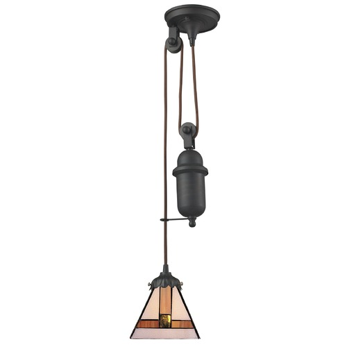 Elk Lighting Elk Lighting Tiffany Pulldown Tiffany Bronze Mini-Pendant Light with Square Shade 081-TB-01