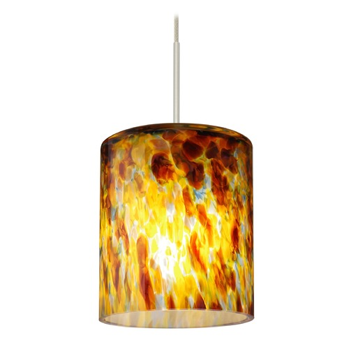 Besa Lighting Besa Lighting Falla Satin Nickel LED Mini-Pendant Light with Cylindrical Shade 1XT-FALLQZ-LED-SN