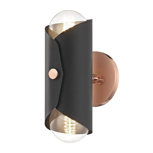 Mitzi by Hudson Valley Mid-Century Modern Sconce Copper Mitzi Immo by Hudson Valley H172102-POC/BK