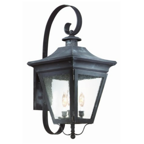 Troy Lighting Outdoor Wall Light with Clear Glass in Charred Iron Finish BCD8930CI