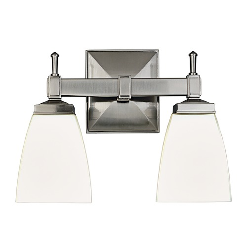 Hudson Valley Lighting Modern Bathroom Light with White Glass in Satin Nickel Finish 652-SN
