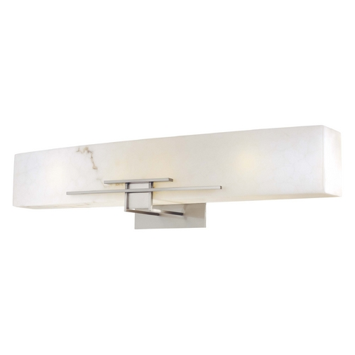 Minka Lavery Modern Bathroom Light with Alabaster Glass in Brushed Nickel Finish 6164-84-PL