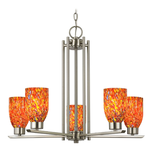 Design Classics Lighting Chandelier with Art Glass in Satin Nickel - 5-Lights 1120-1-09 GL1012D