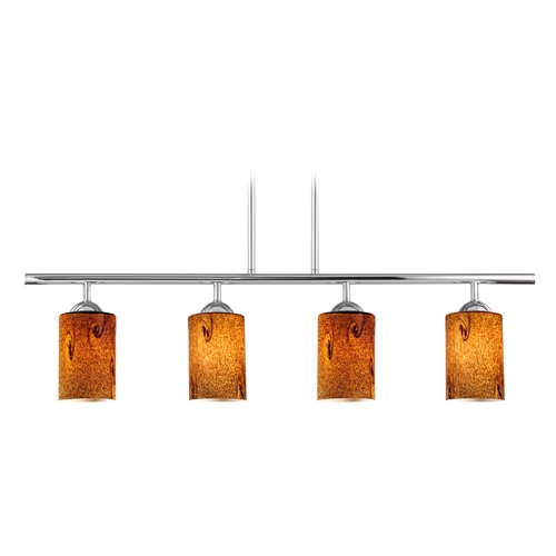 Design Classics Lighting Modern Island Light with Brown Glass in Chrome Finish 718-26 GL1001C