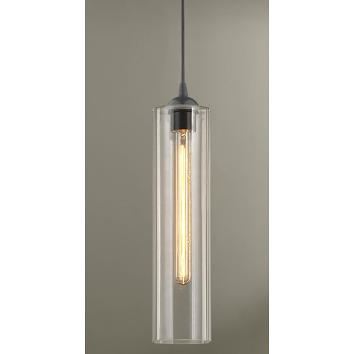 Design Classics Lighting Gala Fuse Matte Black Mini-Pendant Light with Cylindrical Shade 582-07 GL1640C
