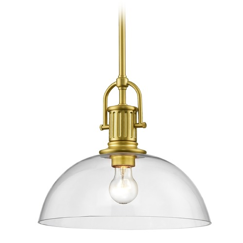 Design Classics Lighting Industrial Brass Pendant Light with Clear Glass 13-Inch Wide 1764-12 G1785-CL
