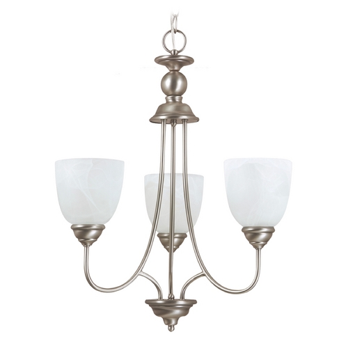Sea Gull Lighting Sea Gull Lighting 3-Light Mini Chandelier with Alabaster Glass in Antique Brushed Nickel 31316-965