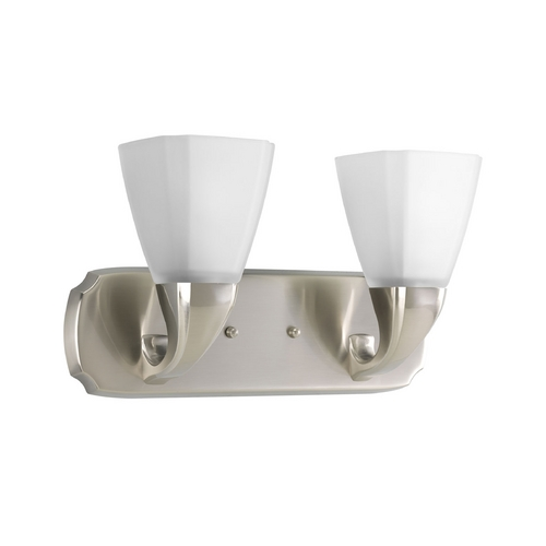 Progress Lighting Progress Bathroom Light with White Glass in Brushed Nickel Finish P2847-09