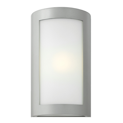Hinkley Lighting Modern Outdoor Wall Light with White Glass in Titanium Finish 2024TT-GU24