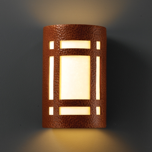 Justice Design Group Sconce Wall Light with White in Hammered Copper Finish CER-5485-HMCP