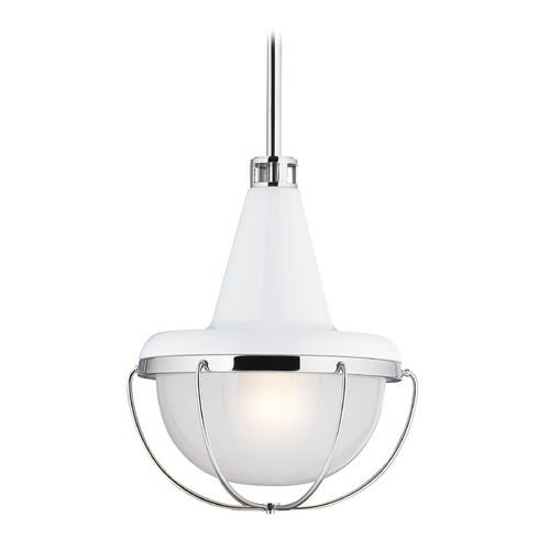 Feiss Lighting Feiss Lighting Livingston High Gloss White / Polished Nickel Mini-Pendant Light with Bowl / Dome Sha P1306HGW/PN