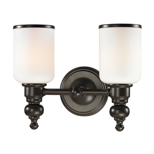Elk Lighting Bathroom Light with White Glass in Oil Rubbed Bronze Finish 11591/2
