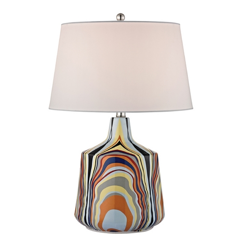 Dimond Lighting Table Lamp with White Shades in Technicolor Stripes Finish D2491