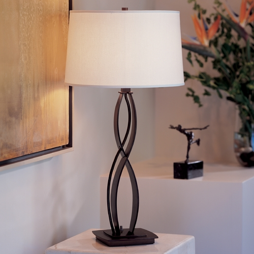 Hubbardton Forge Lighting Hubbardton Forge Lighting Almost Infinity Bronze Table Lamp with Drum Shade 272686-SKT-05-SF1494