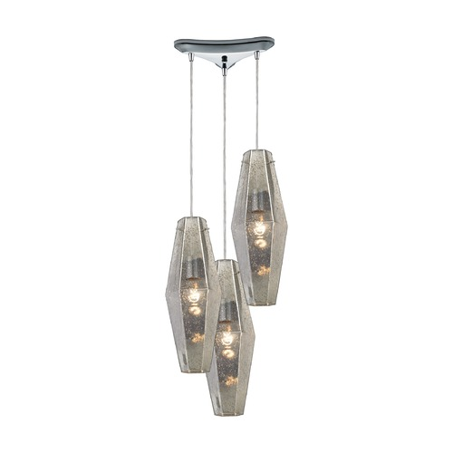 Elk Lighting Elk Lighting Pelham Polished Chrome Multi-Light Pendant with Hexagon Shade 31216/3