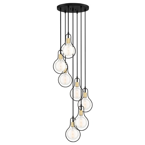Quoizel Lighting Modern Earth Black and Painted Brass 7-Light Pendant SCE2707EK