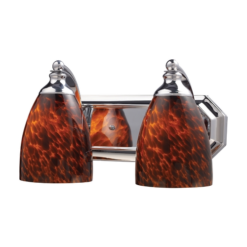 Elk Lighting Bathroom Light with Art Glass in Polished Chrome Finish 570-2C-ES