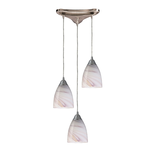 Elk Lighting Modern Multi-Light Pendant Light with Art Glass and 3-Lights 527-3CR
