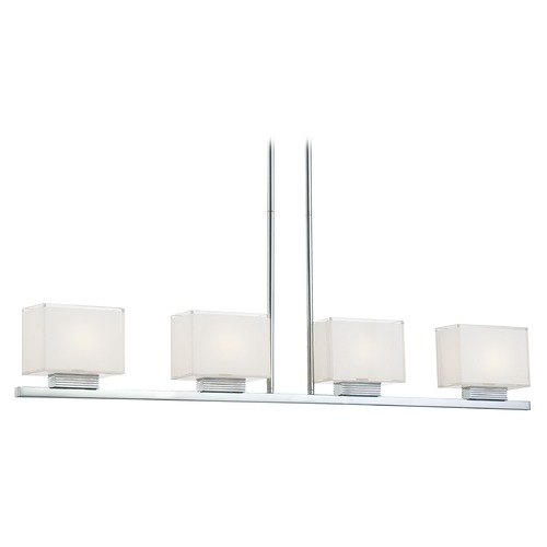 George Kovacs Lighting Modern Island Light with White Glass in Chrome Finish P128-077