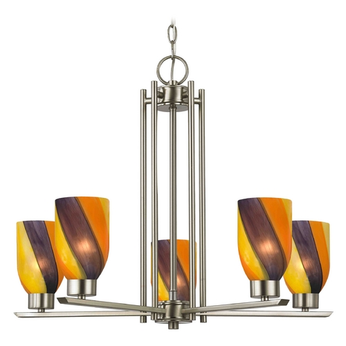 Design Classics Lighting Chandelier with Art Glass in Satin Nickel - 5-Lights 1120-1-09 GL1015D