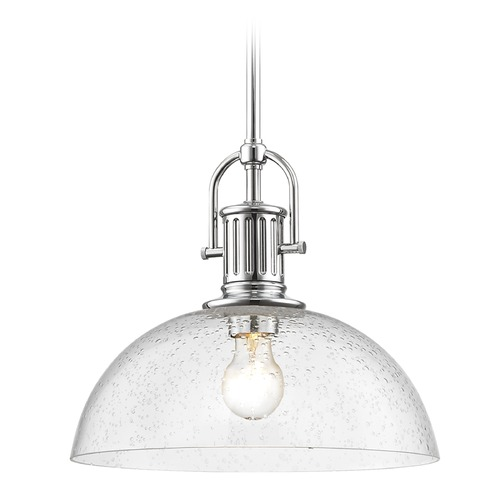 Design Classics Lighting Industrial Seeded Glass Chrome Pendant Light 13-Inch Wide 1764-26 G1785-CS