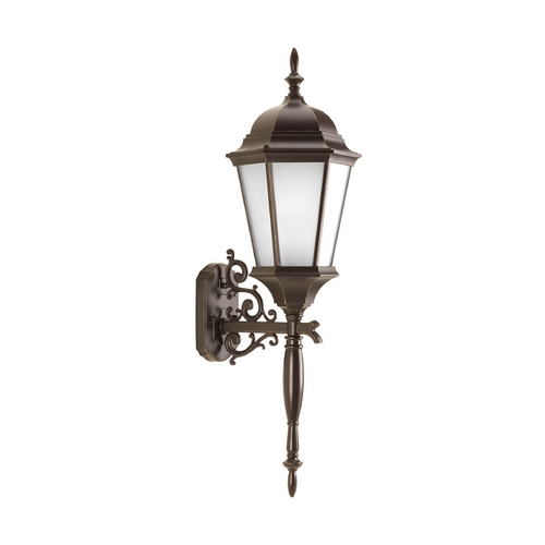 Progress Lighting Outdoor Wall Light with White Glass in Antique Bronze Finish P5684-20EB