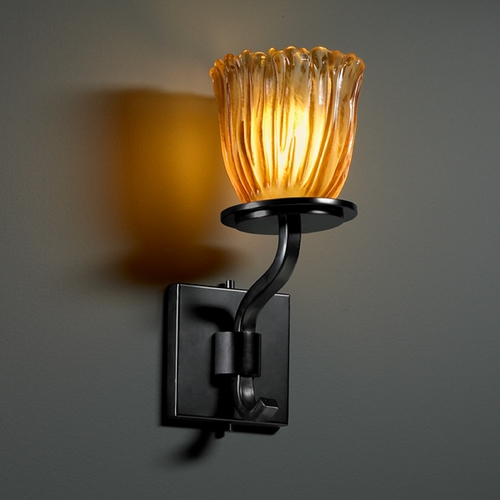 Justice Design Group Justice Design Group Veneto Luce Collection Sconce GLA-8781-56-AMBR-MBLK