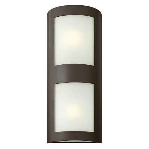 Hinkley Lighting Modern Outdoor Wall Light with White Glass in Bronze Finish 2025BZ-GU24