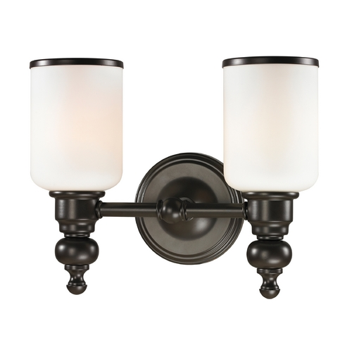 Elk Lighting LED Bathroom Light with White Glass in Oil Rubbed Bronze Finish 11591/2-LED