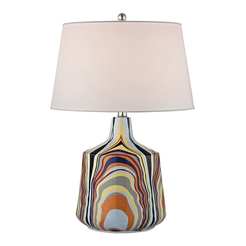 Dimond Lighting LED Table Lamp with White Shades in Technicolor Stripes Finish D2491-LED