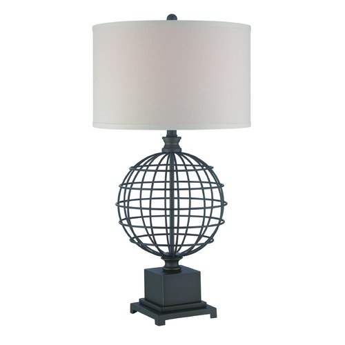 Lite Source Lighting Lite Source Brenton Aged Black Table Lamp with Drum Shade LS-22526