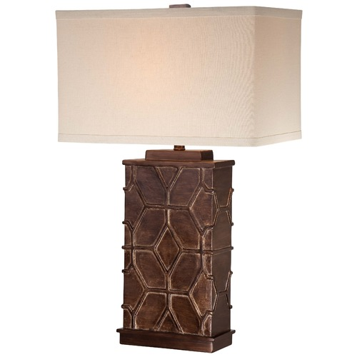 Minka Lavery Minka Bronze & Dry Brush Gold Table Lamp with Rectangle Shade 13026-0
