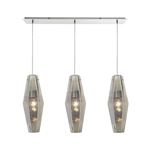 Elk Lighting Elk Lighting Pelham Polished Chrome Multi-Light Pendant with Hexagon Shade 31216/3LP