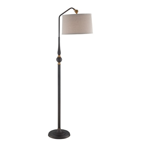 Lite Source Lighting Lite Source Heinz Burnished Bronze Arc Lamp with Drum Shade LS-82834