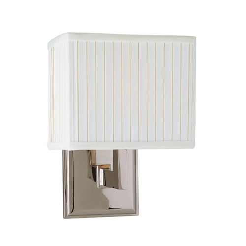 Hudson Valley Lighting Modern Sconce Wall Light with White Shade in Satin Nickel Finish 351-SN
