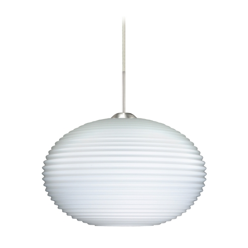 Besa Lighting Modern Pendant Light with White Glass in Satin Nickel Finish 1JT-491307-SN