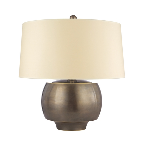 Hudson Valley Lighting Modern Table Lamp with Beige / Cream Paper Shade in Distressed Bronze Finish L166-DB