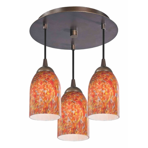 Design Classics Lighting 3-Light Semi-Flush Ceiling Light with Art Glass - Bronze Finish 579-220 GL1012D