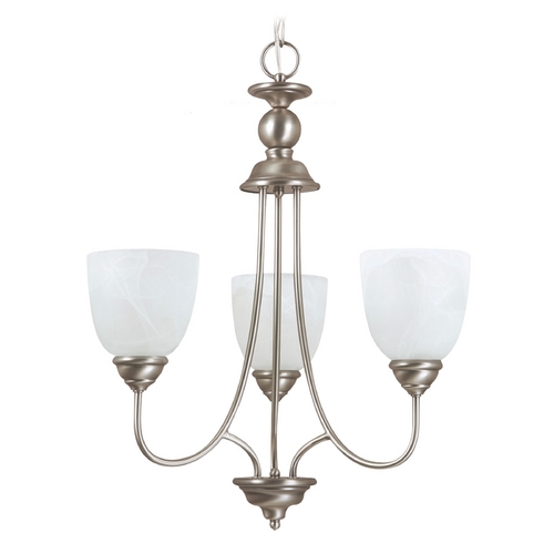 Sea Gull Lighting Mini-Chandelier with Alabaster Glass in Antique Brushed Nickel Finish 31316BLE-965