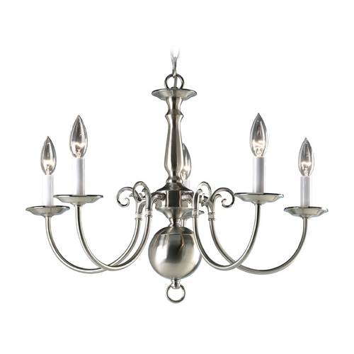 Progress Lighting Progress Colonial Chandelier Light in Brushed Nickel Finish P4346-09