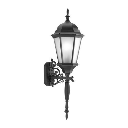 Progress Lighting Outdoor Wall Light with White Glass in Textured Black Finish P5684-31EB