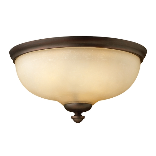 Hinkley Lighting Flushmount Light with Amber Glass in Victorian Bronze Finish 4171VZ