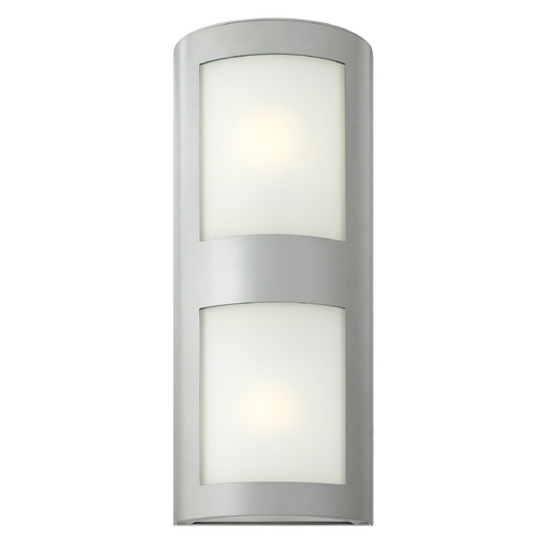 Hinkley Lighting Modern Outdoor Wall Light with White Glass in Titanium Finish 2025TT-GU24